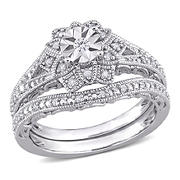 .2 ct. t.w. Diamond Floral Vintage Bridal Set in Sterling Silver