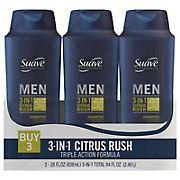 Suave 3-in-1 Shampoo Conditioner Body Wash Citrus Rush, 28 oz.