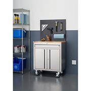 """Trinity Basics 31"""" Stainless Steel Workbench with Pegboard"""