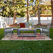 W. Trends 6-Pc. Outdoor Chat Set - 1 Love Seat, 2 Chairs, 1 Coffee Table, 2 Side Tables - Gray Wash