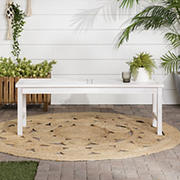 """W. Trends Vincent 53"""" Acacia Wood Chevron Dining Bench - White Wash"""