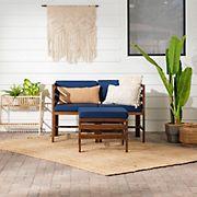 W. Trends Sanibel Modular Acacia Patio Arm Chairs and Ottoman - Dark Brown/Navy Blue
