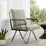 W. Trends Modern Metal and Wood Detail Hairpin Leg Patio Chair - Sandstone