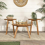 W. Trends 3-Pc. Acacia Round Coffee Table and Side Tables - Brown