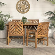 W. Trends 5-Pc. Solid Acacia Wood Chevron Dining Set - Brown
