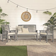 W. Trends 3-Pc. Acacia Patio Chat Set - Gray Wash