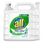 all Laundry Detergent Liquid, Free Clear Unscented and Hypoallergenic, 250 oz.