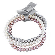 5-5.5mm Freshwater Cultured Pearl White, Pink and Gray Bracelet 3 pc. Set