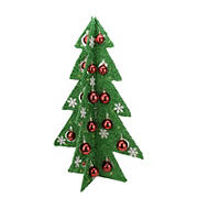 """Northlight 28"""" Pre-Lit Battery Operated Green and Red LED Christmas Tree Tabletop Decor"""