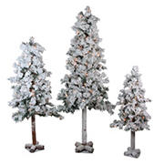Northlight 3-Pc. Pre-Lit Heavily Flocked Alpine Artificial Christmas Trees - Clear Lights