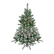 Northlight 4.5' Pre-Lit Full Flocked Natural Emerald Artificial Christmas Tree - Warm Clear Lights