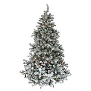 Northlight 6.5' Pre-Lit Medium Flocked Natural Emerald Artificial Christmas Tree - Clear Lights