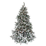Northlight 7.5' Pre-Lit Full Flocked Natural Emerald Artificial Christmas Tree - Warm Clear Lights