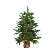 """Northlight 3' x 28"""" Pre-Lit Viella Norway Spruce Artificial Christmas Tree - Clear Lights"""