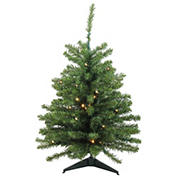 Northlight 3' Pre-Lit Green Medium Canadian Pine Artificial Christmas Tree - Clear LED Lights