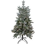 Northlight 4.5' Pre-Lit Flocked Whistler Noble Fir Artificial Christmas Tree - Clear Lights