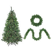 Northlight 4-Piece Artificial Winter Spruce Christmas Tree  Wreath and Garland Set 6.5' - Clear Lights