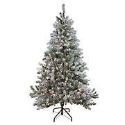 Northlight 6' Pre-Lit Medium Flocked Balsam Pine Artificial Christmas Tree - Clear Lights