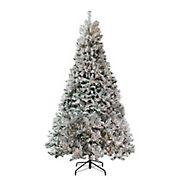 Northlight 7.5' Pre-Lit Heavily Flocked Medium Pine Artificial Christmas Tree - Clear Lights
