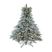 Northlight 7.5' Pre-Lit Full Flocked Jasper Balsam Fir Artificial Christmas Tree - Clear Lights