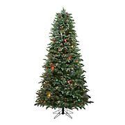 Northlight 7.5' Pre-Lit Slim Flocked Dunton Spruce Artificial Christmas Tree - Multi-Color Lights
