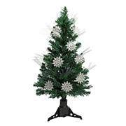 Northlight DAK 3' Pre-Lit Fiber Optic Artificial Christmas Tree with White Snowflakes - Multi-Color Lights