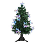 Northlight DAK 3' Pre-Lit Medium Fiber Optic Floral Artificial Christmas Tree - Multi-Color Lights