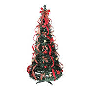 Northlight 6' Pre-Lit Red and Gold Plaid Pre-Decorated Pop-Up Artificial Christmas Tree