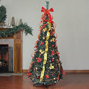 Northlight 6' Pre-Lit Red and Gold Pre-Decorated Pop-Up Artificial Christmas Tree