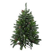 Northlight 4' Snowy Delta Pine with Pine Cones Full Artificial Christmas Tree - Unlit