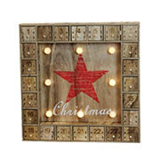 """Northlight 14"""" Pre-Lit Brown and Red LED Advent Calendar Christmas Wall Decor"""