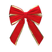 """Northlight Dyno 24"""" Red and Gold Commercial 4 Loop Outdoor Christmas Bow"""