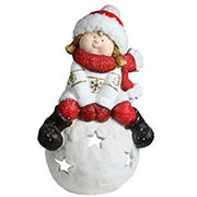 """Northlight 19.25"""" Red and White Girl on a Snowball Christmas Tealight Candle Holder"""