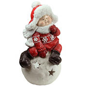 """Northlight 19.25"""" Red and White Boy on a Snowball Christmas Tealight Candle Holder"""