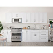 NewAge Home 14-Piece Kitchen Cabinet Set with Granite Countertops and Sink, White