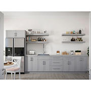 NewAge Home 14-Piece Kitchen Cabinet Set with Sink and Shelves, Gray