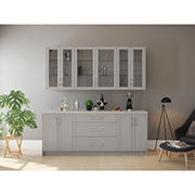 NewAge Home Bar 7-Piece Cabinet Set with Shelves and Glass Doors, Gray