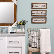Stratton Home Decor 3-Pc. Printed Linen Bathroom Rules Wall Art