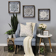 Stratton Home Decor Framed Metal Flower - Gray