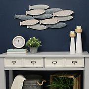 Stratton Home Decor School of Fish Wall Decor - Gray/White/Blue