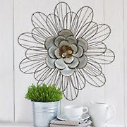 Stratton Home Decor Galvanized Daisy Wall Decor - Silver