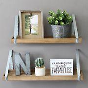 Stratton Home Decor Metal Shelves, 2 pc. - Wood, Galvanized