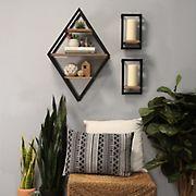 Stratton Home Decor Diamond Shelf Wall Decor  - Natural Wood, Black