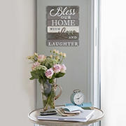 Stratton Home Decor Bless Our Home With Love and Laughter Wall Art - Gray