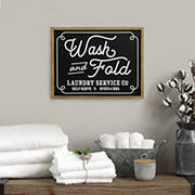 Stratton Home Decor Wash and Fold Laundry Sign Wall Decor - Black, White