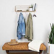 Stratton Home Decor Gold Metallic Metal Wall Shelf with Hooks