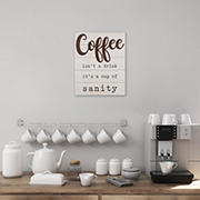 Stratton Home Decor Coffee is a Cup of Sanity Wood Wall Art