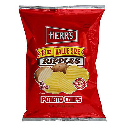 HERR'S Ripple Potato Chips, 18 oz.