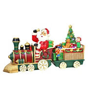 """Puleo International 24"""" Resin Santa Train Table Top Decor with 35 ct. Multi-color LED Lights - Red"""