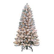 Puleo International 4.5' Flocked Virginia Pine Pre-Lit Tree with 200 ct. Lights